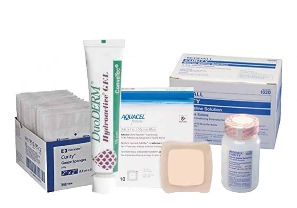 Personally Delivered wound care products including DueDerm gel, gauze sponges, and saline solution