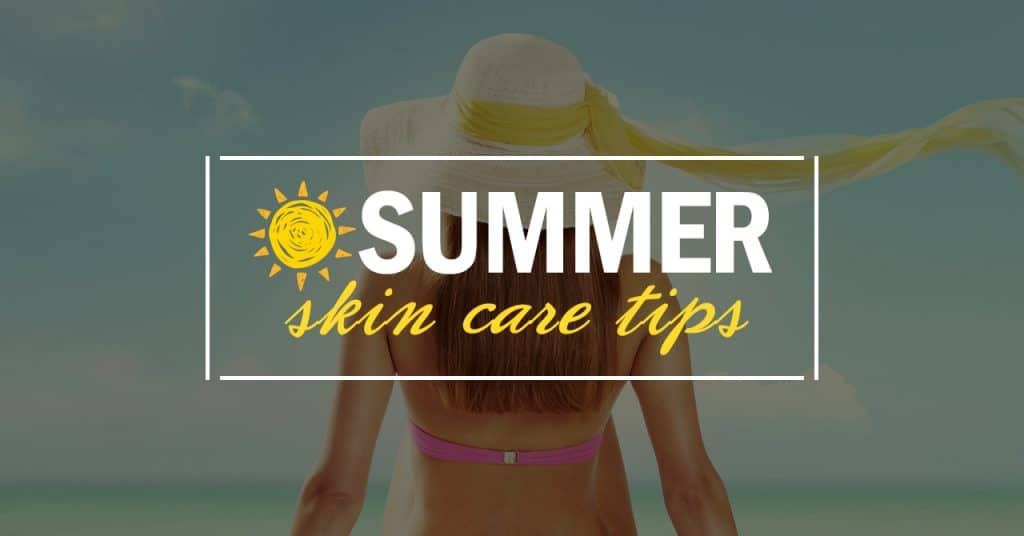 summer skin care tips with the back side of a woman in a pink bikini and cream floppy hat with yellow ribbon