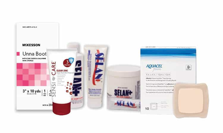 selection of McKesson, Sensi-Care, Selan, and Aquacel skin and wound care products