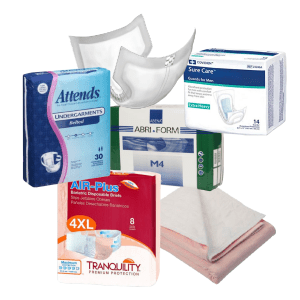 collage of various incontinence products