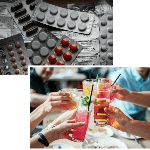 collage of pills and alcoholic beverages