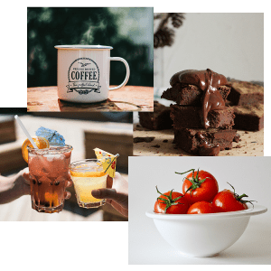 collage of coffee mug, brownies, tomatoes, and alcoholic beverages
