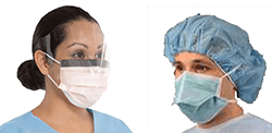 health workers wearing different masks and shield
