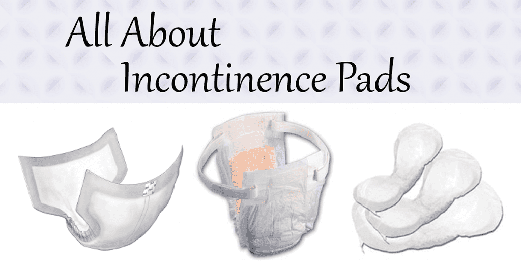 All About Incontinence Pads featuring a brief, belted undergarment, and pads