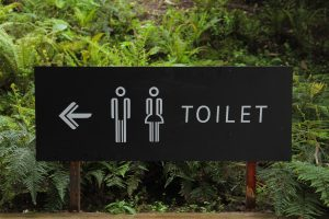 outdoor sign that points with an arrow to where the men's and women's restrooms are located in a park