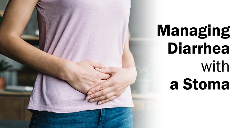 woman holding her stomach in discomfort for the blog cover of managing diarrhea with a stoma