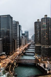 Chicago river in the middle of the city