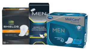 Depend, Molicare, and Tena male guards and shields