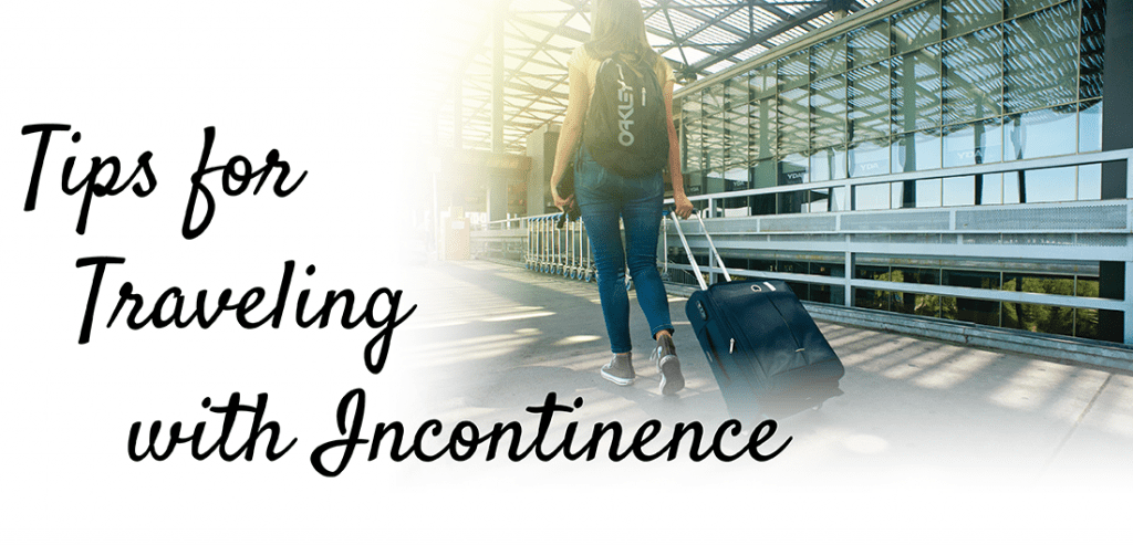 tips for traveling with incontinence showing woman with a backpack on rolling her luggage through airport
