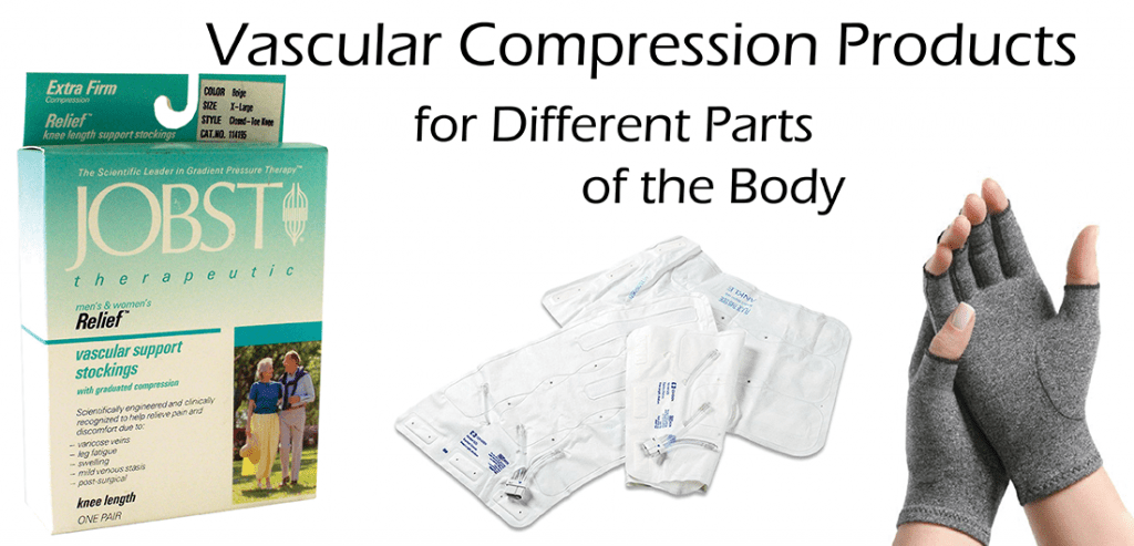 Vascular compression products showing compression gloves, leg cuffs, and box of Jobst compression stockings