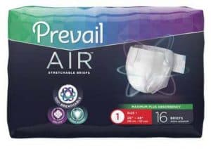 Prevail Air Briefs in a bag are a heavy absorbency option as an incontinence product for seniors available in sizes small to large