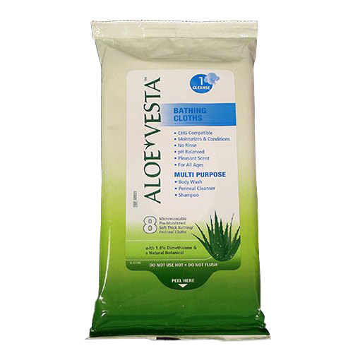 Item# 325521 Aloe Vesta Bathing Cloths in a pouch are perfect as a no-rinse cleansing option