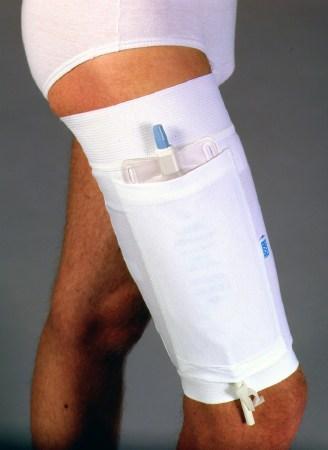 A urinary leg bag holder on a man's leg shown as a wrap