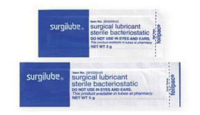 Packets of 3 gram and 5 gram Surgilube catheter lubricant