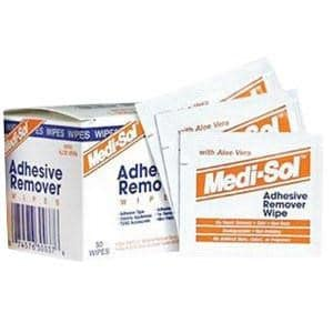 Medi-Sol Adhesive Remover wipes for removing adhesive residue from external catheter