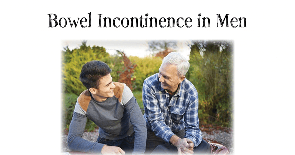 two men smiling at one another for the bowel incontinence in men blog header