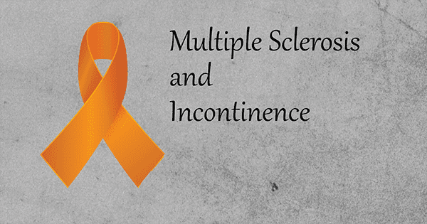 Multiple Sclerosis and Incontinence blog post cover with orange ribbon